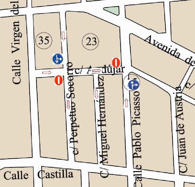 Modificación tráfico calle Andújar