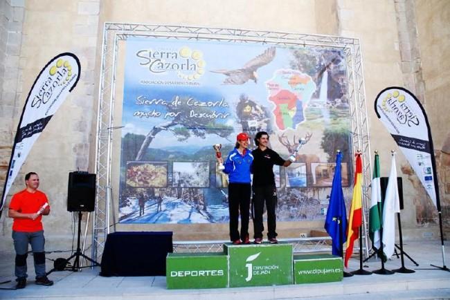 Ernesto Angulo y Noelia Camacho en el podium de Cazorla