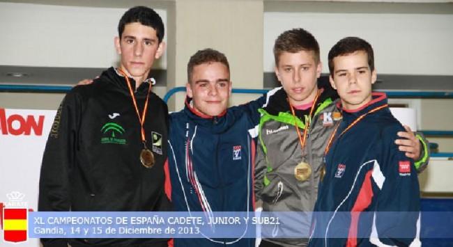 Fernando Sánchez, primero a la izquierda, en Campeonato Nacional de Karate Cadete, Junior y Sub-21