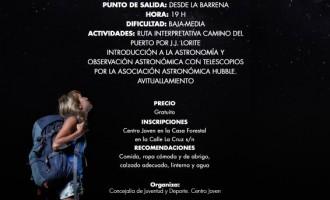 """La """"II Ruta de Senderismo Nocturno Intergeneracional"""" será el 11 de octubre"""