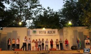 Los integrantes de la candidatura en el escenario