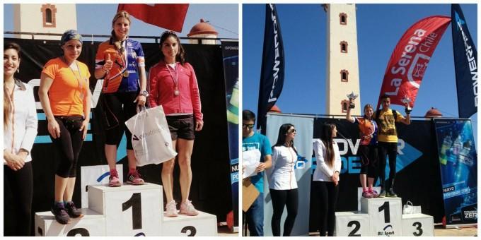 Mari Carmen en un podium en una carrera de Chile