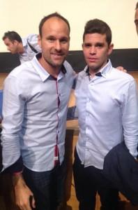 Junto al árbitro de primera división Matheu La Hoz