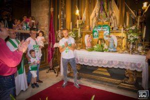 Ramón en la ofrenda floral a la Virgen del Rosario