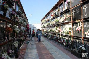 El cementerio con las lápidas llenas de flores