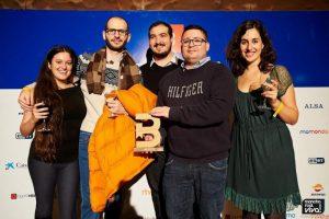 Con su grupo de Podcast, Ana, Valentin, Daniel y Magnolia